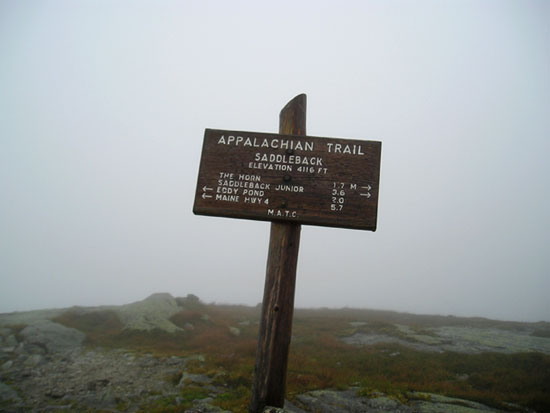Summit sign on Saddleback