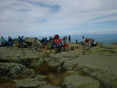 The crowded Mt. Lafayette summit